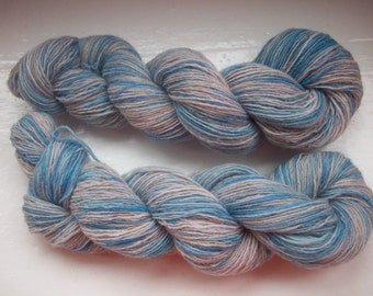 Sock yarn, hand painted alpaca merino, fine, blue, beige 100g by SpinningStreak