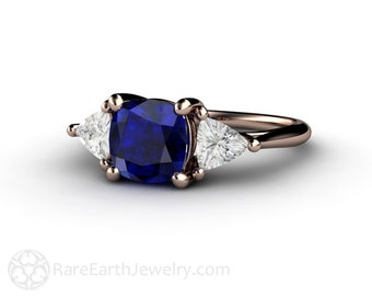 Cushion Blue Sapphire Engagement Ring Vintage Blue Sapphire Ring White Sapphire Trillions 3 Stone Three Stone 14K or 18K Gold or Platinum