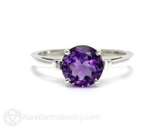 Amethyst Ring Solitaire Fleur de Lis Ring Purple Gemstone February Birthstone 14K or 18K White Yellow Rose Gold
