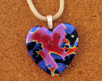 Dichroic Heart Pendant - Fused Glass Pendant - Valentine Pendant - Heart Jewelry - Dichroic Jewelry - Dichroic Necklace - Fused Glass Heart