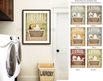 Airedale Terrier dog laundry basket company laundry room artwork signed artists giclee print by stephen fowler geministudio