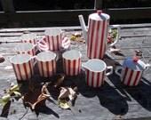 Peppermint Stripe Tea or Coffee Set Del Coronado Nasco Japan complete 6 cups n Saucers, Tea Pot, Cream and Sugar Tags on