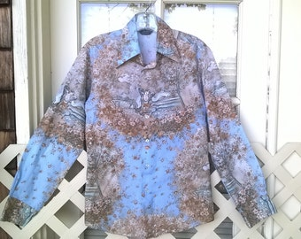 Chemise Et Cie , Classic 60s 70s Disco Era Shirt, The Awakening of Sheherezade, polyester Shirt sz 38 mens Small