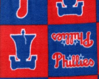 Philadelphia Phillies Fleece Throw Blanket MLB Baseball Blue Red Fabric Adult