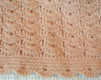 Vintage Baby Afghan - lovely peach color - beautiful condition