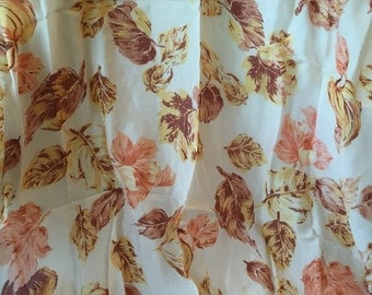 Vintage Silky Square Scarf Featuring Leaves in beautiful soft colors on ivory background - Lovely