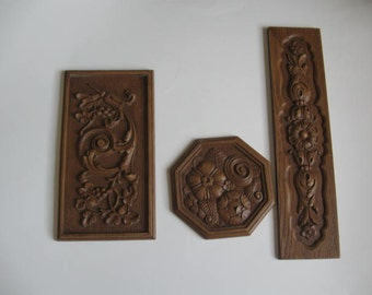 3 Vintage Wood Look Decorative Wall Plaques - Wall Hangings