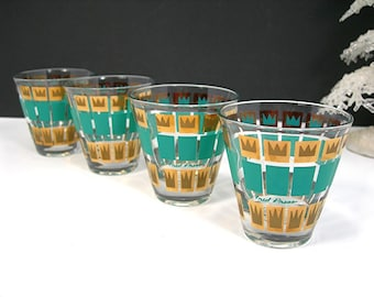 Vintage 60s Fred Press Bar Glasses, Set of 4, Turquoise and Gold, Crown Design, 3 Ounce Small Cocktail, Mid-Century Barware, Man Cave