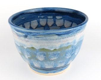 Ceramic Bowl - Serving Bowl or Mixing Bowl - 1 quart - Blue & White - Handmade Wheel Thrown Pottery
