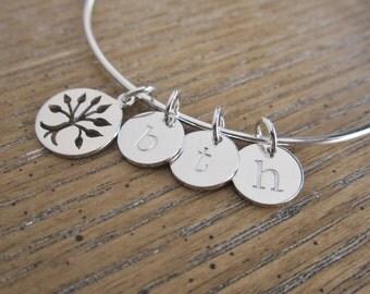 Silver initial bracelet, Family bracelet with three initials, Family tree charm, adjustable bangle bracelet, Grandma, Mothers bracelet,
