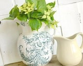 RESERVED... Farmhouse Style... Vintage White Ironstone Pitcher