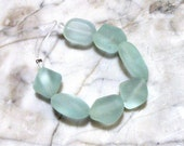 7pc SEAFOAM Medium Chunky Pebble Sea Glass Beads, Nc2275/7pc, Cultured Tumbled Hawaiian Style
