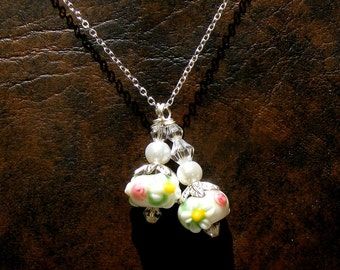 DAISY Pink Rose Double Drop Handmade Lampwork Glass Beads Sterling Silver Necklace Nc2364, Swarovski Crystal & Pearl, Graduation by Lynn SRA