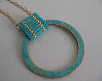 Seed Bead & Brass Pendant