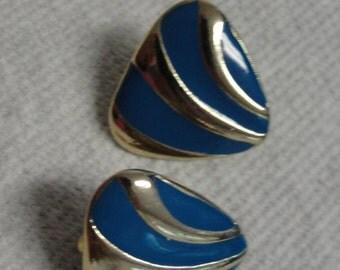 Blue Enamel Gold Tone Stripe Triangle Clip Earrings