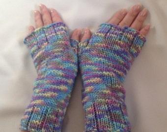 Arm Warmers Wrist Warmers - purple blue knitted