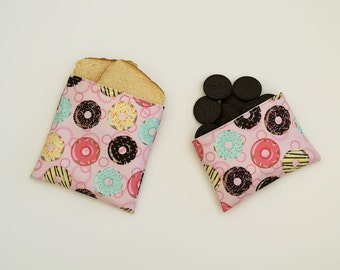 Doughnuts - Eco Friendly Reusable Sandwich and Snack Bag Set (Zipper or Velcro)