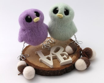 Mini Wedding Cake Topper Birds Pastel Shade Choose Your Custom Colours Lilac Pink Blue Yellow Apricot White or Mint Green