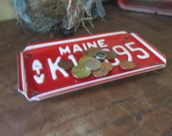 Repurposed License Plate Coin and Key Tray - Rustic Maine  ATV Plate - FREE SHIPPING