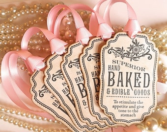 Hand Baked Tags, Baked Goods Tags, Food Labels, Wedding Favour Tags, Bachelorette Tags, Christmas Food, Fall Food Labels, - Code B11
