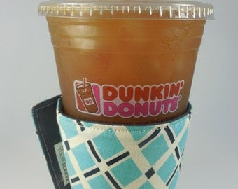 Whats Up Your Sleeve Fabric Coffee Sleeves - Blue Lattice