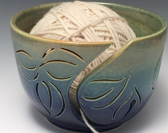 Yarn Bowl  Leaf Yarn Bowl  Knitting Bowl  Ceramic Yarn Bowl  Handmade Yarn Bowl  Blue Green Yarn Bowl