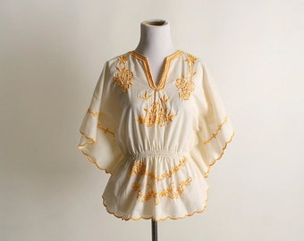 ON SALE Vintage Embroidered Blouse - Butter Cream Yellow Floral Flutter Butterfly Wing Sleeve Top - small to medium