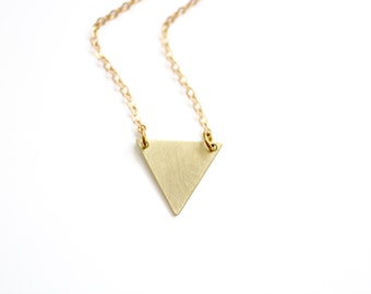 Minimalist Small Triangle Necklace - Brass | Stainless Steel | 14k Gold Filled | Sterling Silver