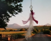 Rearview Mirror Accessory -  feather and faceted crystal,  chain, window charm