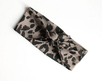 Tie Up Headscarf // Fashion Headband // Stretch Hair Wrap // Olive Green // Khaki and Black Leopard Print