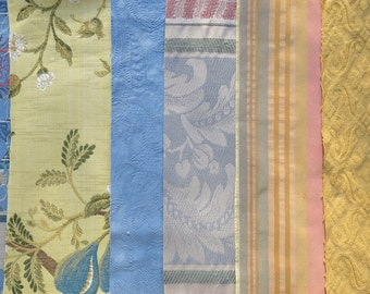 Blue, Pink, Gold Fabric Pack, Collection...DESTASH SALE, Closeout Clearance...6 home design samplers, remnants,scraps, texture variety-F1614