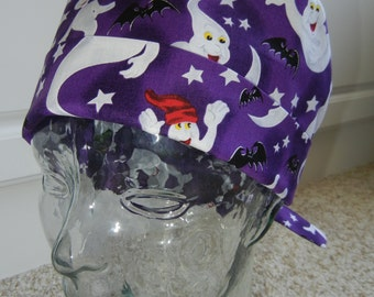 Tie Back Surgical Scrub Hat with Halloween Ghosts Bats