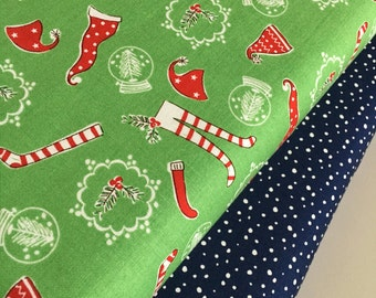 SALE fabric, Christmas fabric, Christmas Stockings, Pixie Noel, Holiday fabric, Fabric by the Yard- Fabric Bundle of 2, Choose The Cuts
