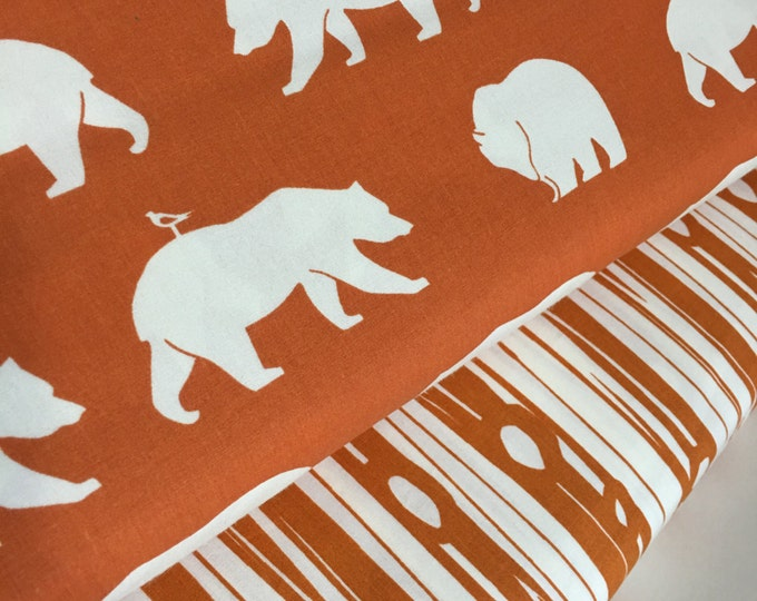 Organic fabric, Bear Camp fabric bundle by Birch Fabrics, Bear fabric, Orange fabric, Boy fabric, Nursery, Bundle of 2- Choose the Cut