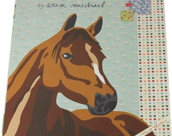"Purebred Horse Moda Quilt Top Kit Erin Michaels Finished Size 63""x78"""