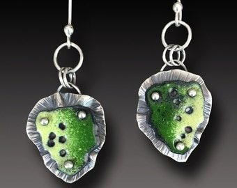 Sterling Silver  Earrings with  Enameled Modern Abstract Sculptures