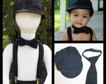 Boy Newsboy Hat sizes 3 months to 10 years Customize you hat set with Suspenders, bow tie or Necktie