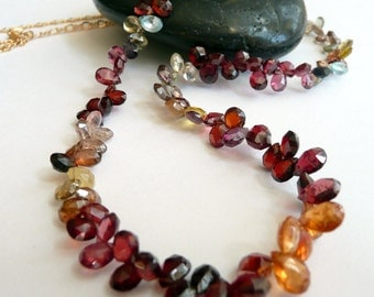Handcrafted Artisan Multi Colored Sapphire Teardrops 14kt Gold Chain OOAK Boho Hippie Gypsy Statement Necklace
