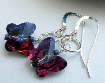 Artisan Swarovski Crystal Purple Blue Red Butterfly Sterling Silver Dainty Boho Hippie Summer Festival Gypsy Gift for Her Dangle Earrings
