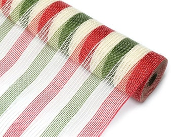 """Narrow 10"""" Ivory Red and Moss Fabric Mesh - New Deco Mesh Fabric -   XB98410-18"""