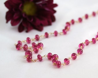 Pink Tourmaline Necklace - 14k Gold - Tourmaline Necklace - October Birthstone