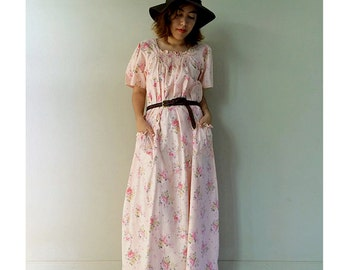 Pink floral cotton Maxi  Smock Neck Dress  Long Tunic One size  fit All (D1)