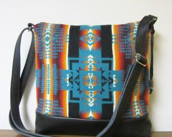 Wool Purse Shoulder Bag Messenger Black Leather Adjustable Strap Wool Native American Print