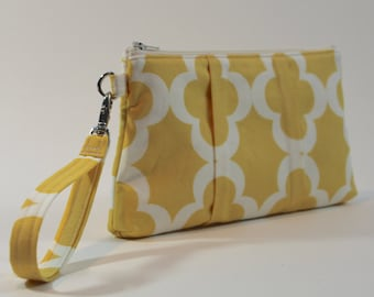 Large Wristlet - Padded Zipper Pouch - Yellow Flowers