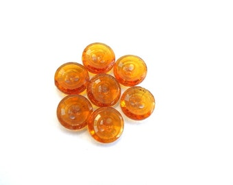 10 Buttons, glass, antique vintage, yellow, translucent, 11mm