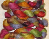 Handpainted Roving -- Blueface Leicester Wool/Silk