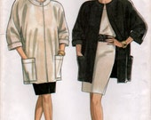 1990s Jacket with Kimono Sleeves and Short Straight Skirt Sewing pattern New Look 6381