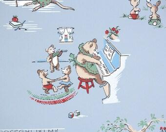 1940s Vintage Wallpaper by the Yard - Bears Dancing Bunnies Playing Kangaroos Teaching Novelty Wallpaper