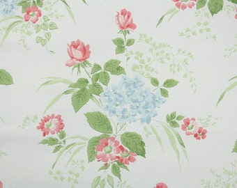 1960s Vintage Wallpaper by the Yard - Pink Roses and Blue Hydrangea Bouquets, Floral Wallpaper