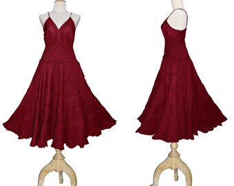 Long Maroon Red GYPSY PRINCESS Smock Maxi Dress Hippie Boho Size 16 18 20  Gothic Medieval